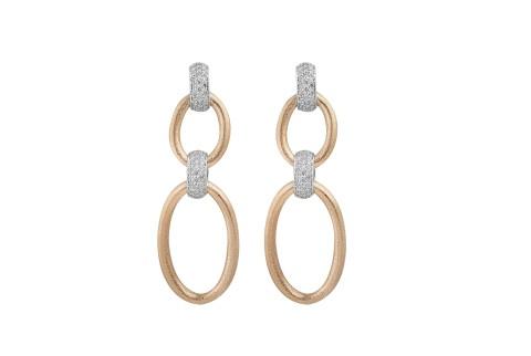 حلق الماس مع ذهب اصفر وابيض عيار 18