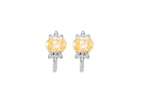حلق الماس مع حجر أصفر على ذهب أبيض عيار 18