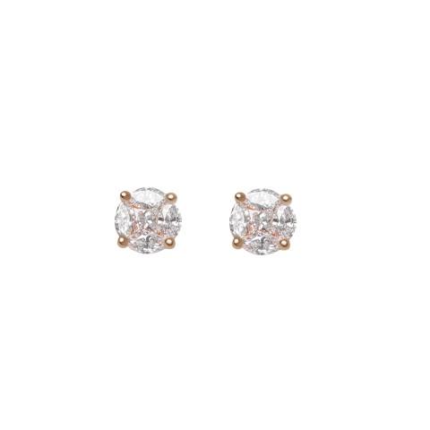 حلق الماس مع ذهب ابيض او روز عيار 18